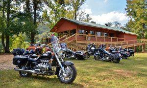 Motorcycles at Byrd's restaurant