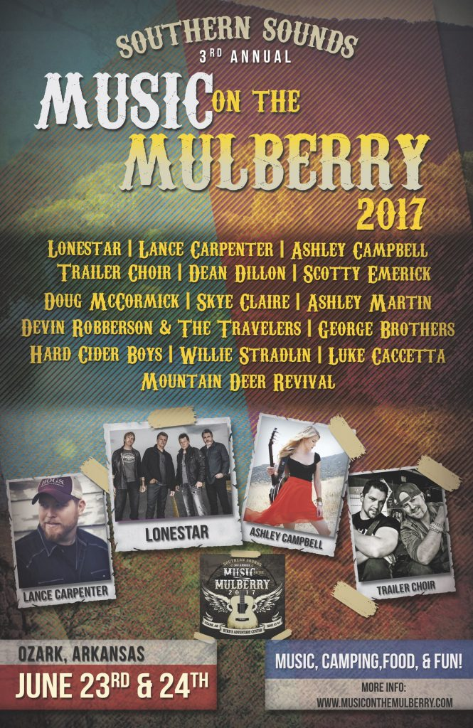 Music on the Mulberry at Byrd's Adventure Center June 23-24, 2017